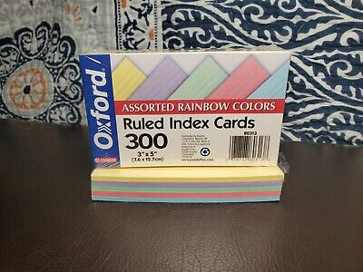 Oxford Ruled Index Cards 100 - Assorted Rainbow Colors - 3x5 - 40280