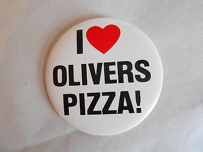 Vintage I Heart Olivers Pizza! Advertising Pinback Button