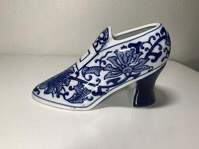 Vintage Seymour Mann Fine China Porcelain Heel Shoe Blue and White Planter Vase