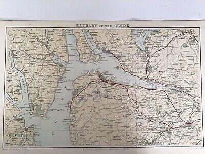 Estuary of the Clyde 1884 Antique Map, Bartholomew, Atlas, Scotland, Colour