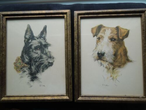 VINTAGE PAIR OF FRAMED SCOTTISH / FOX TERRIER PRINTS, SCOTTY SCOTTIE