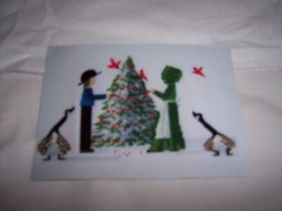Amish Couple Decorating Christmas Tree Cross Stitch Kit Partially Completed
