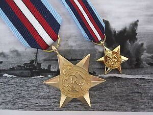 WW2-British-ARCTIC-STAR-Medal-Set-Full-Size-AND-Miniature-British-Made-Award