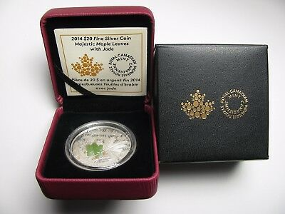 2014 PROOF $20 OVERLAID MAJESTIC MAPLE LEAVES 3 JADE INSERT CANADA .9999 SILVER