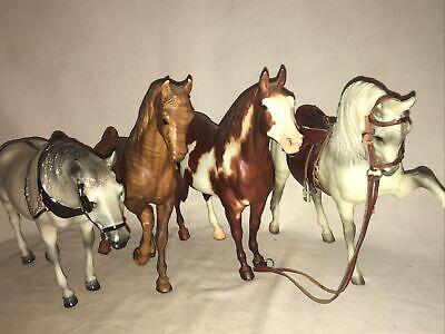 BREYER TRADITIONAL HORSE LOT VINTAGE X 4 WOODGRAIN BRANDED
