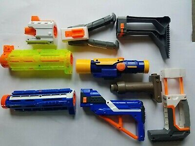 Used Lot of Nerf Accessories Stocks Scopes Barrels Foregrips Bipods