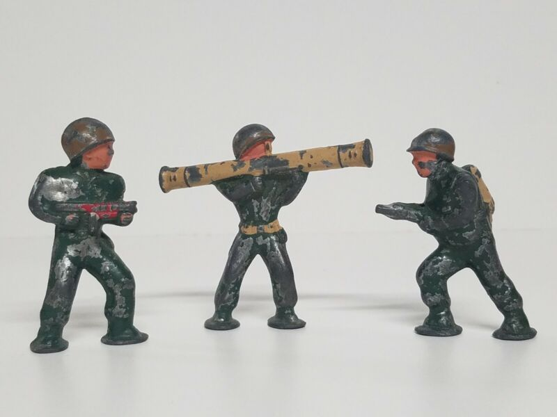 Lot 3 Vintage Metal Lead? Toy Military Soldiers With Weapons