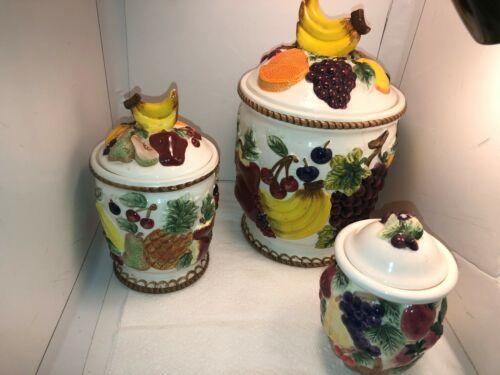 Vintage Ceramic Fruit Canister Set Beautiful 3 Piece Set