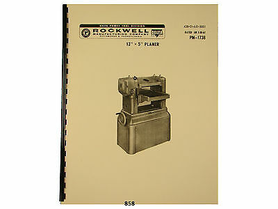 Delta Rockwell 13x5 Wood Planer Instruction Parts Manual 858