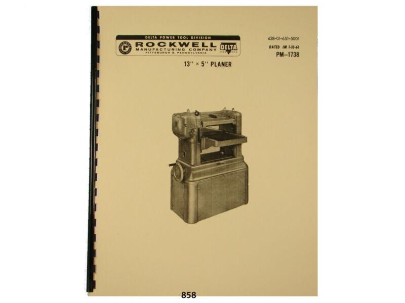 "Delta Rockwell 13""x5""  Wood Planer  Instruction & Parts Manual *858"