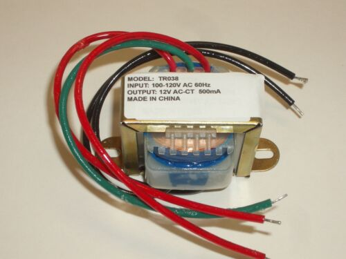 PHILMORE TR038 120VAC TO 12VAC CENTER TAP CT 6V-0-6V 0.5A POWER TRANSFORMER
