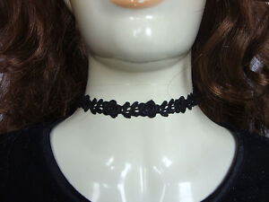 A-Black-Guipure-Rose-Lace-13-Choker-Necklace-Pagan-Gothic-Burlesque-Victorian