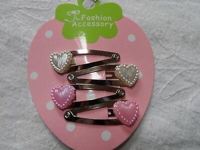 mini hair clips,girls hair clips slides snap clips pink & white hearts baby hair White Hearts Snap