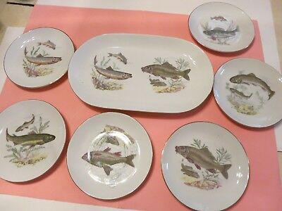 Kahla Fish Platter 6 Plates German China Gold Rim Very Nice