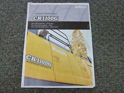 Kobelco Model Ck1100g Hydraulic Crawler Crane Load Chart Capacities Manual