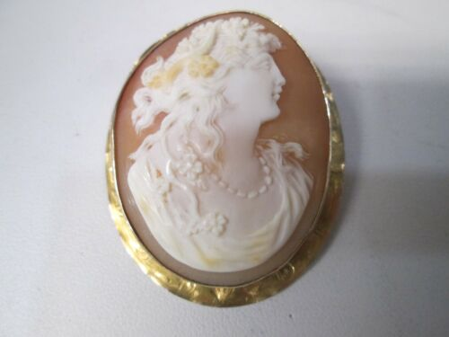 Antique Cameo 10K Gold Ladies Head Pendant Pin Brooche