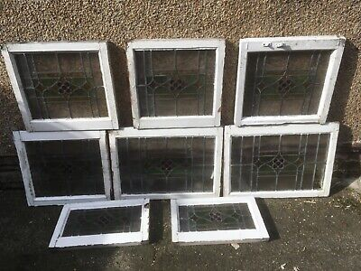 8 Matching stained glass leaded windows