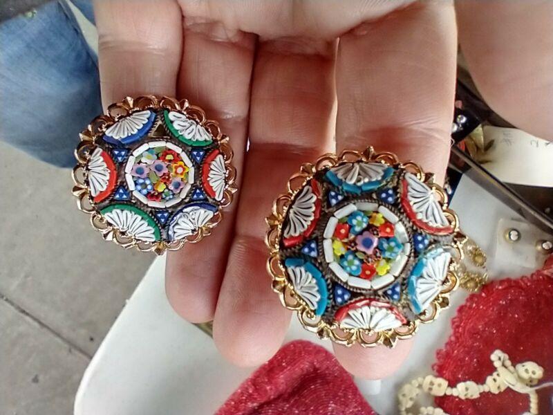 Vintage micro mosaic Large Cufflinks