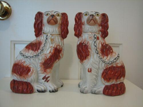 "Staffordshire Dog - 19th Century 8-1/2"" Red & White Spaniel Pair - Circa: 1850"
