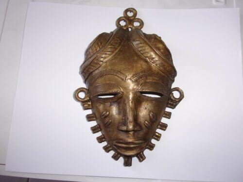 Antique Benin African Tribal Bronze Brass hip mask