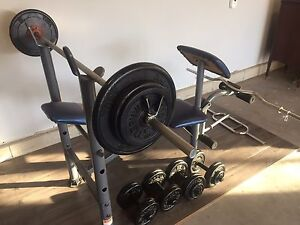 Workout bench with plates and dumbells