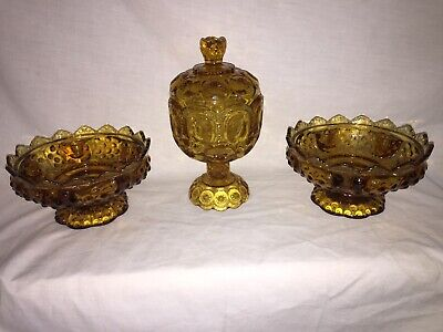 Hobnail Compote - Fenton Amber Hobnail Lot Compote Candy Dish & Candle Dish