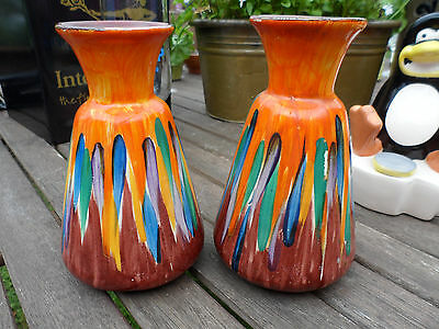 Used, PAIR OF WADE HEATH VASES, ORANGE BASE WITH BRIGHTLY COLOURED STRIPES. MARKED for sale  Shipping to Ireland