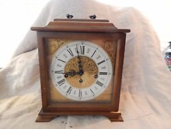 Vintage Franz Hermle Wood Carriage Mantel Clock 9.5 x 8