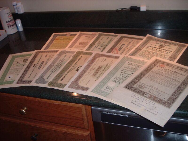 12 Different Antique 1920s WW2 German Germany Gold Bonds Reichsmark Certificates