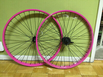 "Beach Cruiser bike 26/""x 25mm Wheels Wheelset Rims Pink"