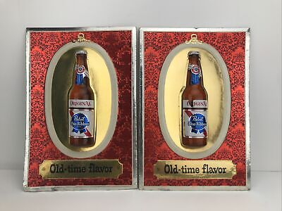 """Pair Of Vintage Pabst Blue Ribbon Beer """"Old-time flavor"""" Bubble Dome Bottle Sign"""