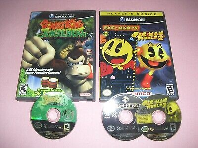 Donkey Kong Jungle Beat & Pac Man vs World 2 DISC & CASE ONLY GREAT Gamecube!