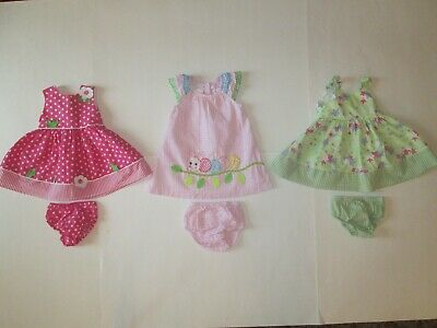 Lot of 3 baby girl sundresses 6-9 months Bonnie Baby Blueberi Boulevard cute!