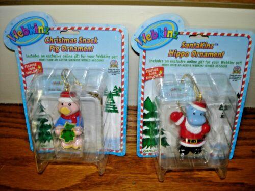 Rare Lot of 2 WEBKINZ Christmas ORNAMENTS ~ SANTAKINZ HIPPO+ CHRISTMAS SNACK PIG