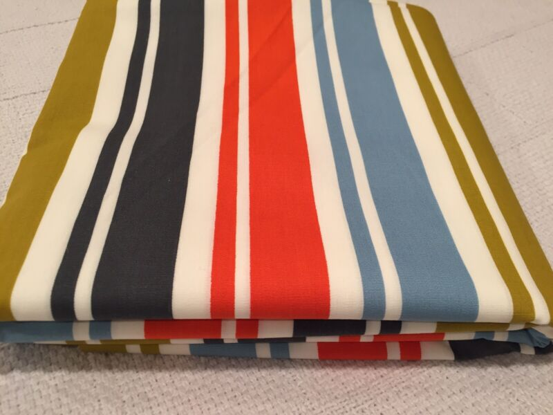 4 Yards Vtg Colorful Stripes Rayon Or Cotton/Rayon Fabric Navy Gold Orange Blue