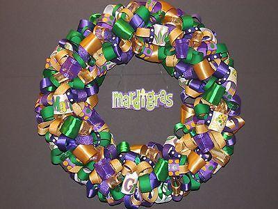 Mardi Gras Ribbon Wreath - Mardi Gras Wreaths