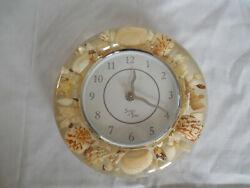 Sands of Time seashell & lucite beach, nautical quartz wall clock 8