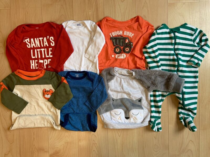 Baby Boy Clothes LOT 6-9 Months Onesies Shirts Pajamas PJs Sleepers Fall Winter