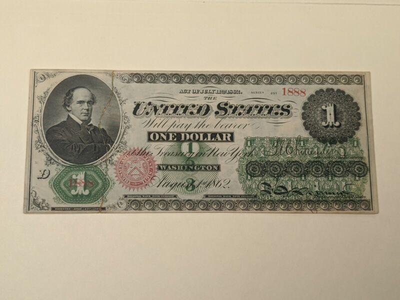 1862 $1 One Dollar Bill Legal Tender US Note Greenback Repaired, But Crisp