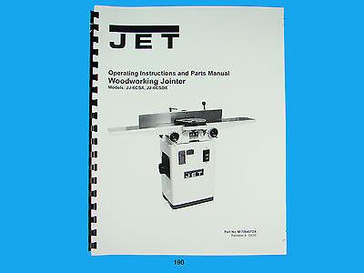 Jet  Jj-6csx Jj-6csdx Woodworking Jointer Op Instruct Parts Manual 190