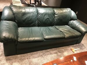 Leather couch and recliner.