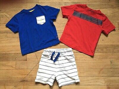 3-pc NAUTICA Lot Boys Size 24 Mos 2T Shorts T-Shirt Red White Blue