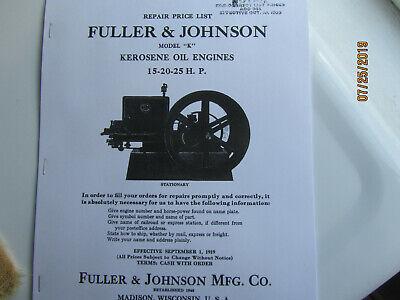 1919 Fuller Johnson 15-25hp Kerosene Engine Parts Manual Oil Engine