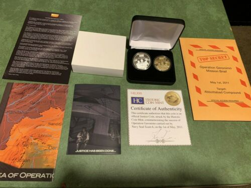 2011 Operation Geronimo Mission 2 Coin Proofs In Display Case With COA  L@@K