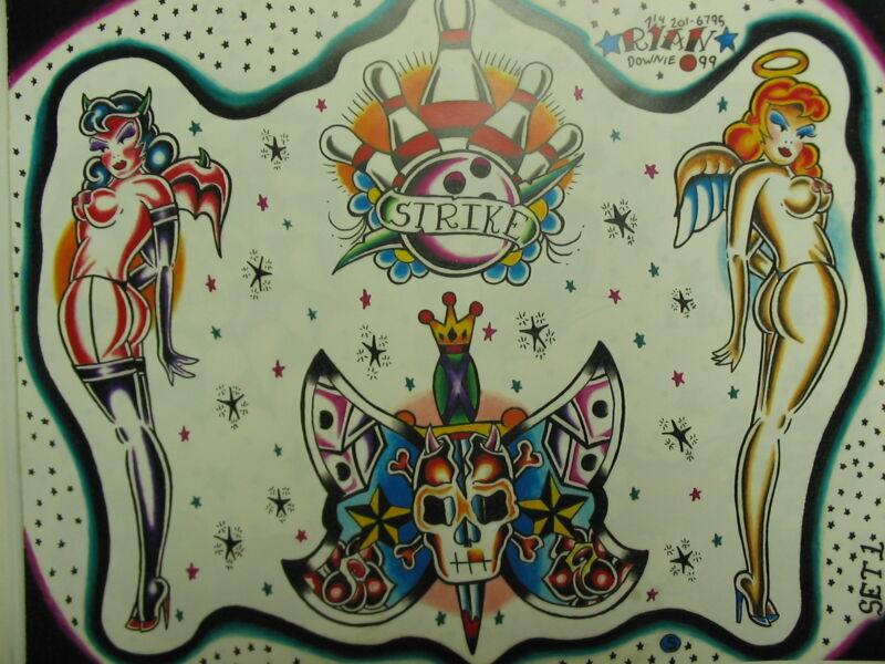 OLD SCHOOL Ryan Downie Tattoo Flash Color+Lines 11x14 BIG ART Women Skull Design