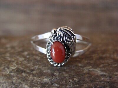 Navajo Indian Jewelry Sterling Silver Coral Ring! Size 7 1/2 - L. Largo 1/2 Sterling Silver Jewelry