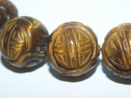 Vintage Carved Chinese Tigers Eye Tiger Eye Stone Round Bead Shou Design 18mm