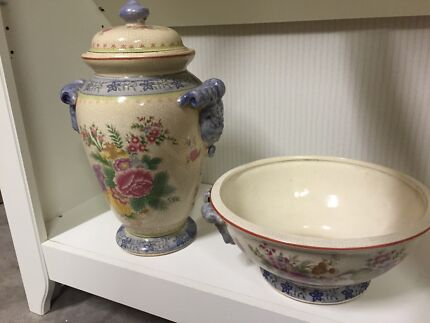 Pretty Chinese covered vase & bowl New Lambton Newcastle Area Preview