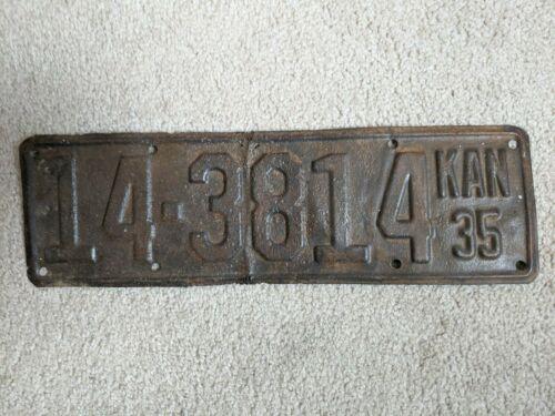 Vintage Auto License Plate Tag Kansas 1935