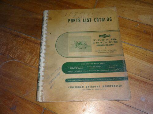Cincinnati Roll Grinding Machines Parts List Catalog #G-633